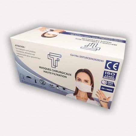 Masques chirurgicaux - Lot de 50