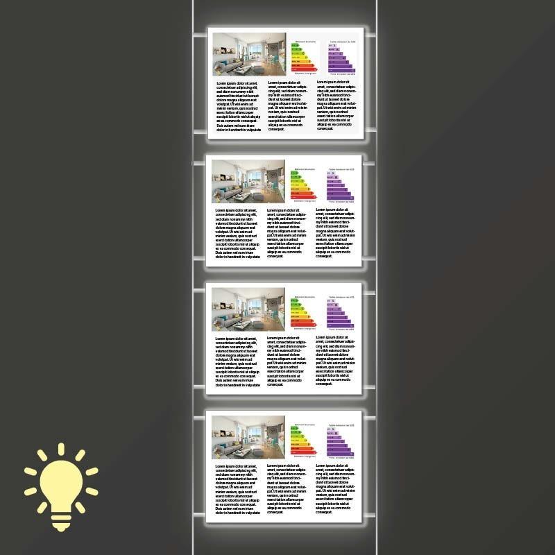 Kit 1 colonne - 4 portes affiches led - A4 horizontal